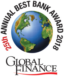 Global Finance 25th Annual Best Bank Award 2018